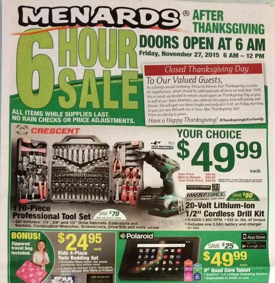 Menards Black Friday Ad 2015