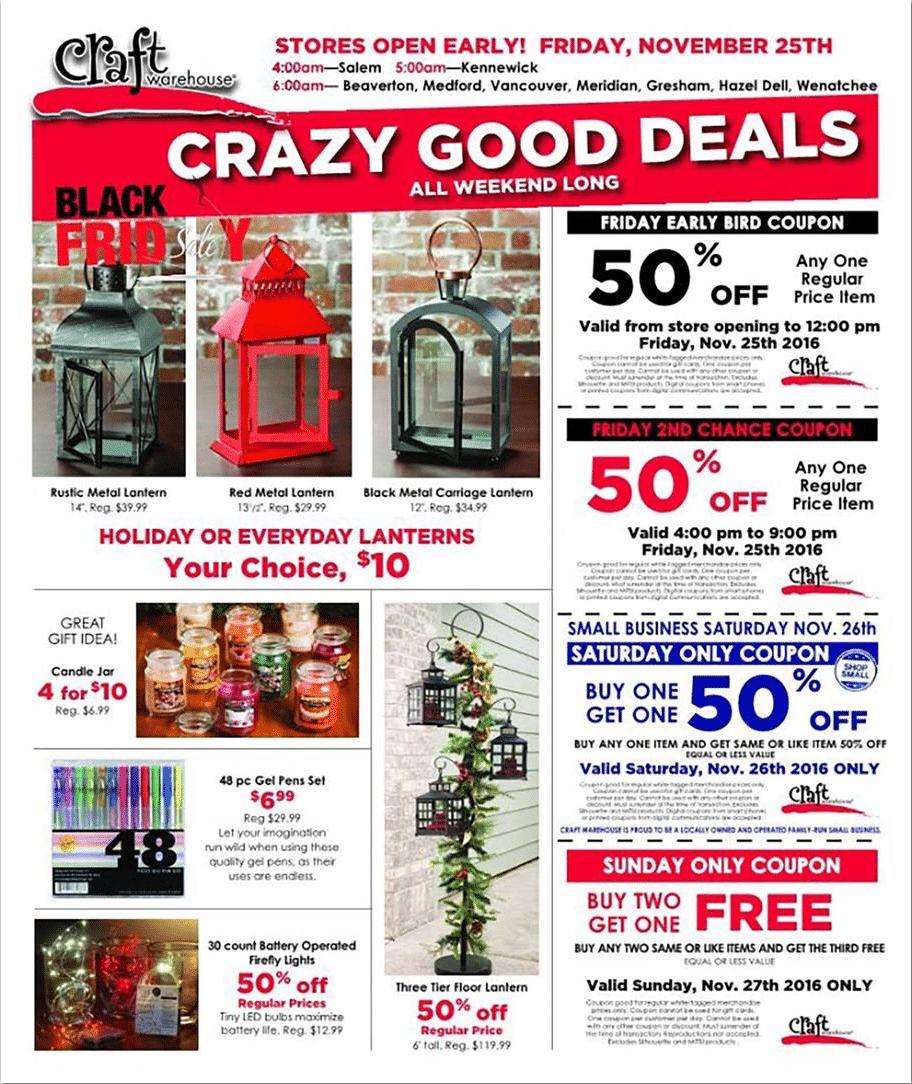 Craft Warehouse Black Friday Ad 2016
