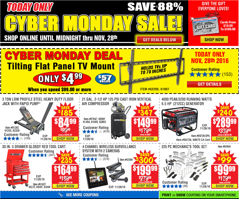 harbor freight tools cyber monday 2016 ad. Black Bedroom Furniture Sets. Home Design Ideas
