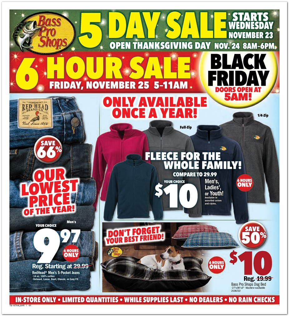 Complete coverage of Bass Pro Shops Black Friday Ads & Bass Pro Shops Black Friday deals info.