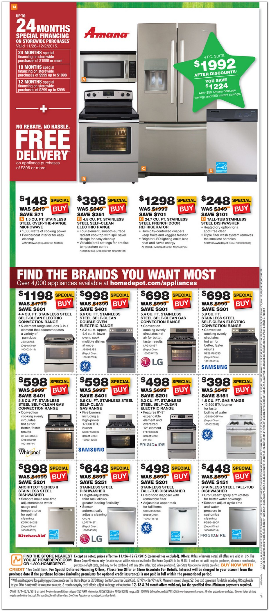 Home Depot Black Friday Appliance Sale Ad