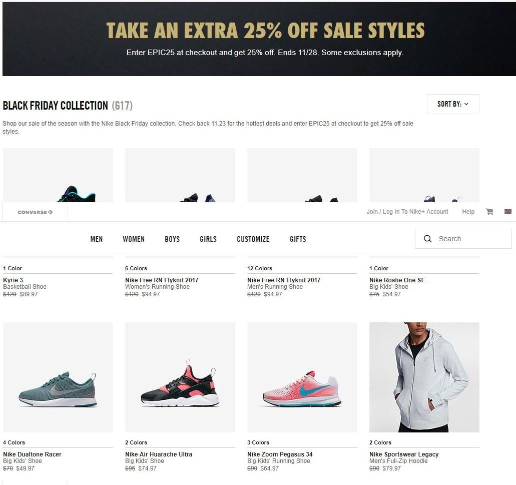 combinar siglo Engañoso  Nike Black Friday Ad 2017