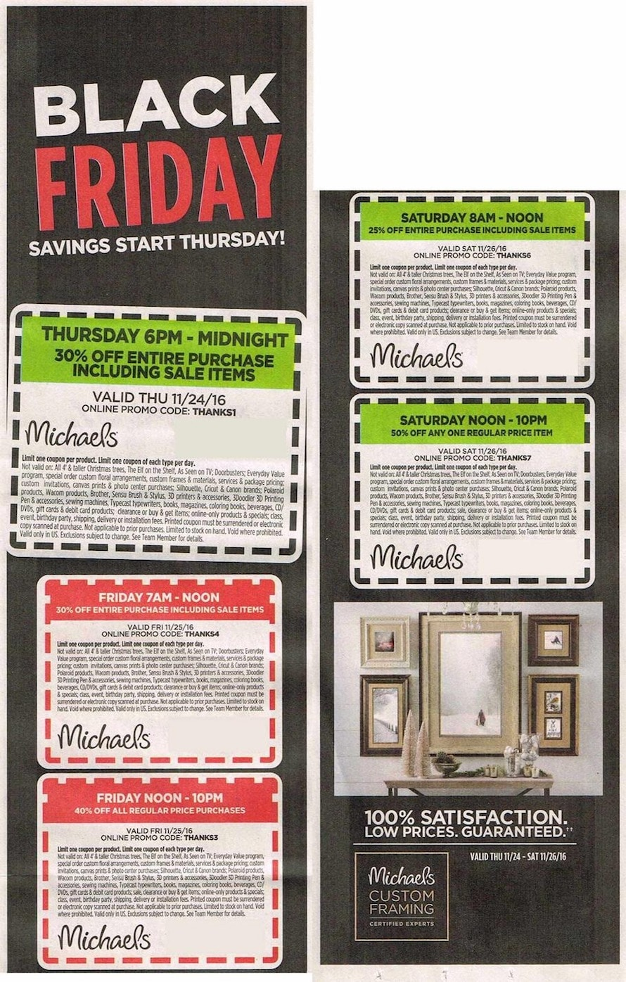 go couponing now michaels black friday coupons 2017. Black Bedroom Furniture Sets. Home Design Ideas