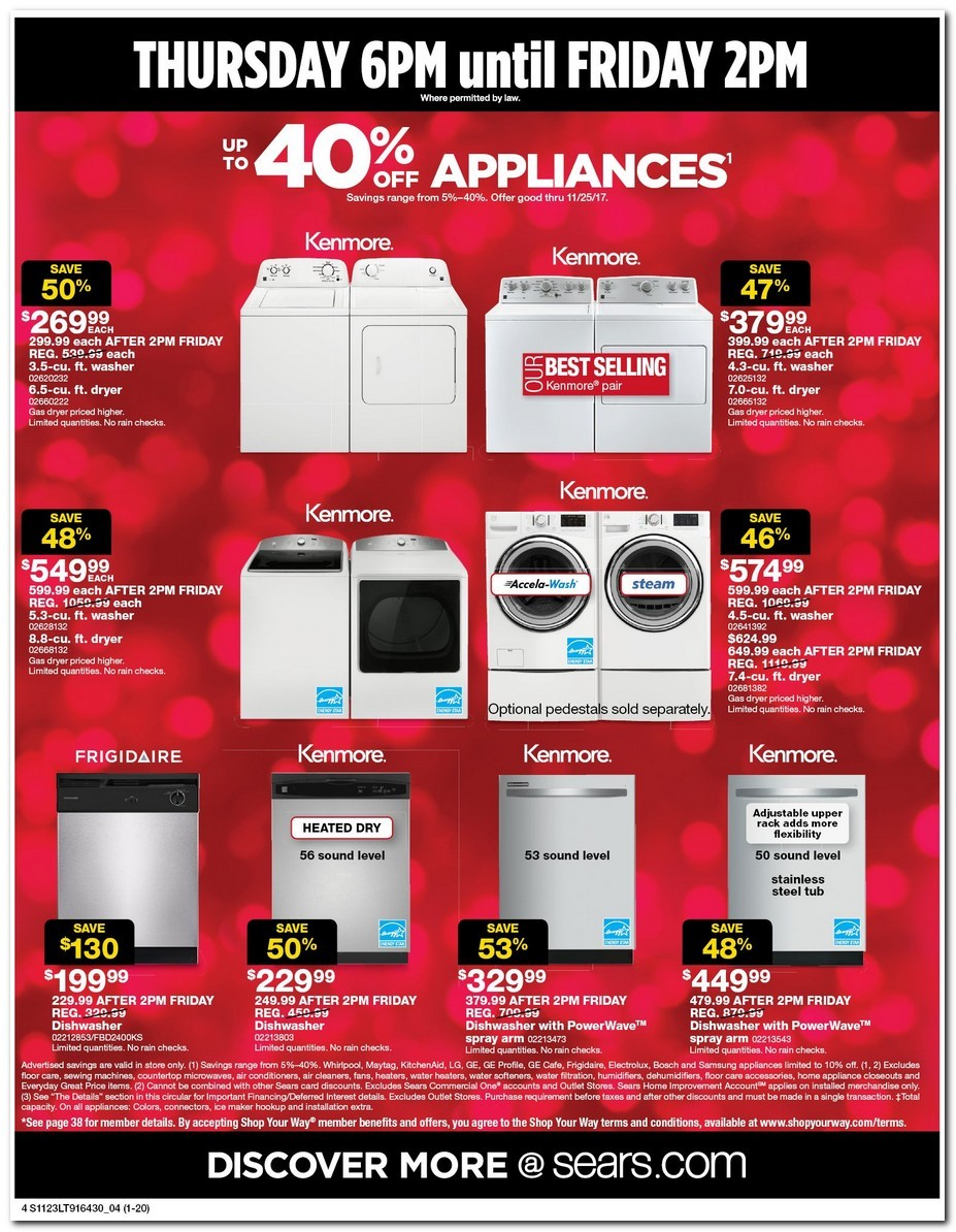 Sears' Sears Black Friday Ad is here! Sears will open at 6PM on Thanksgiving, and its doorbusters will run all day on Black Friday. If you spend $+ you'll receive $ Cash back over a 24 month period! Sears is the leading home appliance retailer and also offers tools, lawn & garden, fitness equipment and automotive repair.
