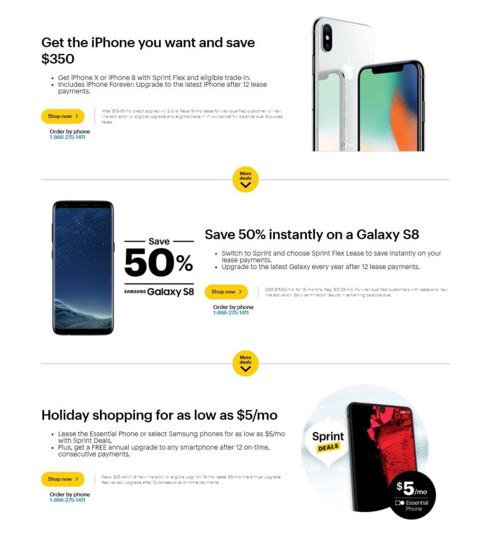 iPhone X Deals On Sprint Image shows logo of Sprint Image Courtesy: phandroid. com Sprint will offer $ and will pay out within 18months, and you also need to swap your old smartphone with them, to avail the new iPhone X/