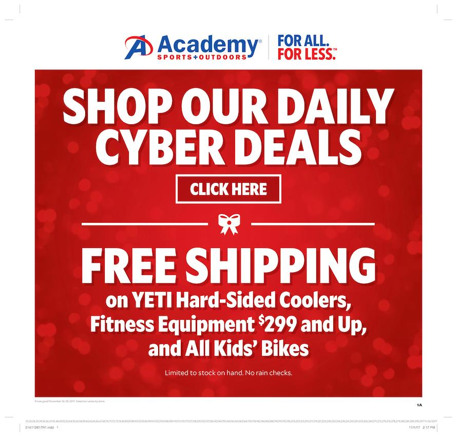 Yeti Cyber Monday Sale >> Academy Sports Cyber Monday 2017 Ad