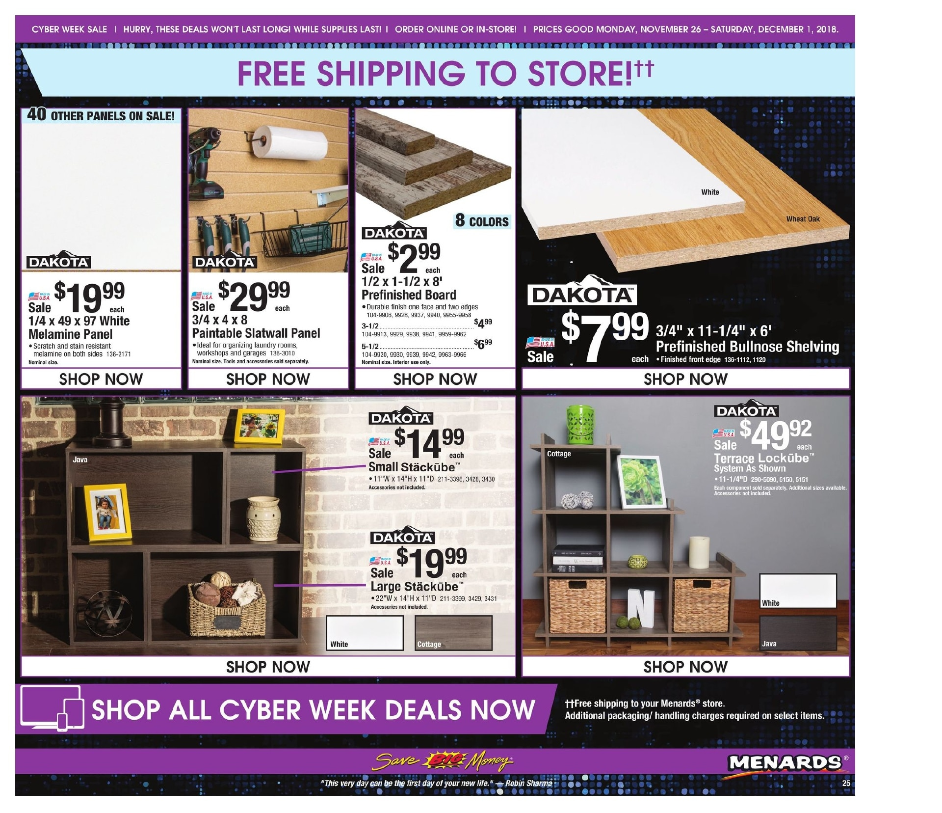 Menards Cyber Monday 2018 Ad