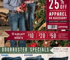 """Browse Cavender's Black Friday 2017 Sale, with stores opening 7 a.m. Friday, November 24 and doorbuster specials rolling from 7 to 11 a.m. while supplies last. Save with this year Cavender's Black Friday deals on: Rock & Roll Men's Shirts Fall Season Styles, Wrangler Men's Shirts, Cinch Jeans, Stetson & Resistol Felt Hats, Lucchese Exotic Boots, Cavender's by Old Gringo Pirarucu Boots, Justin & Tony Lama Full Quill Ostrich Boots, Justin Bent Rail Performance Boots, Cavender's by Old Gringo Women's Boots, Corral Women's Boots, Booties Assorted Styles, plus get a free Justin WNFR Gear Bag with any adult sized Justin Boot purchase of $39.99![peg] [gallery link=""""none"""" columns=""""1"""" size=""""full"""" ids=""""12878,12879,12880""""] Don't forget to check this year Cavender's Black Friday deals before heading out to shop."""