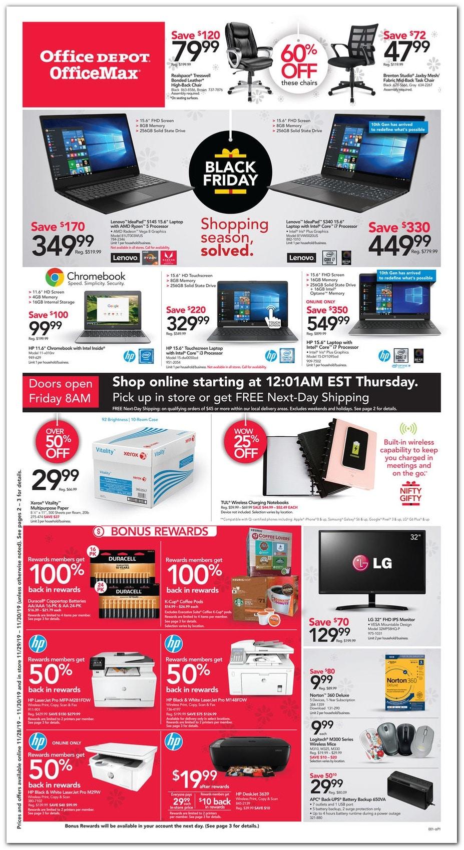Office Depot Black Friday Ad Sale 2019