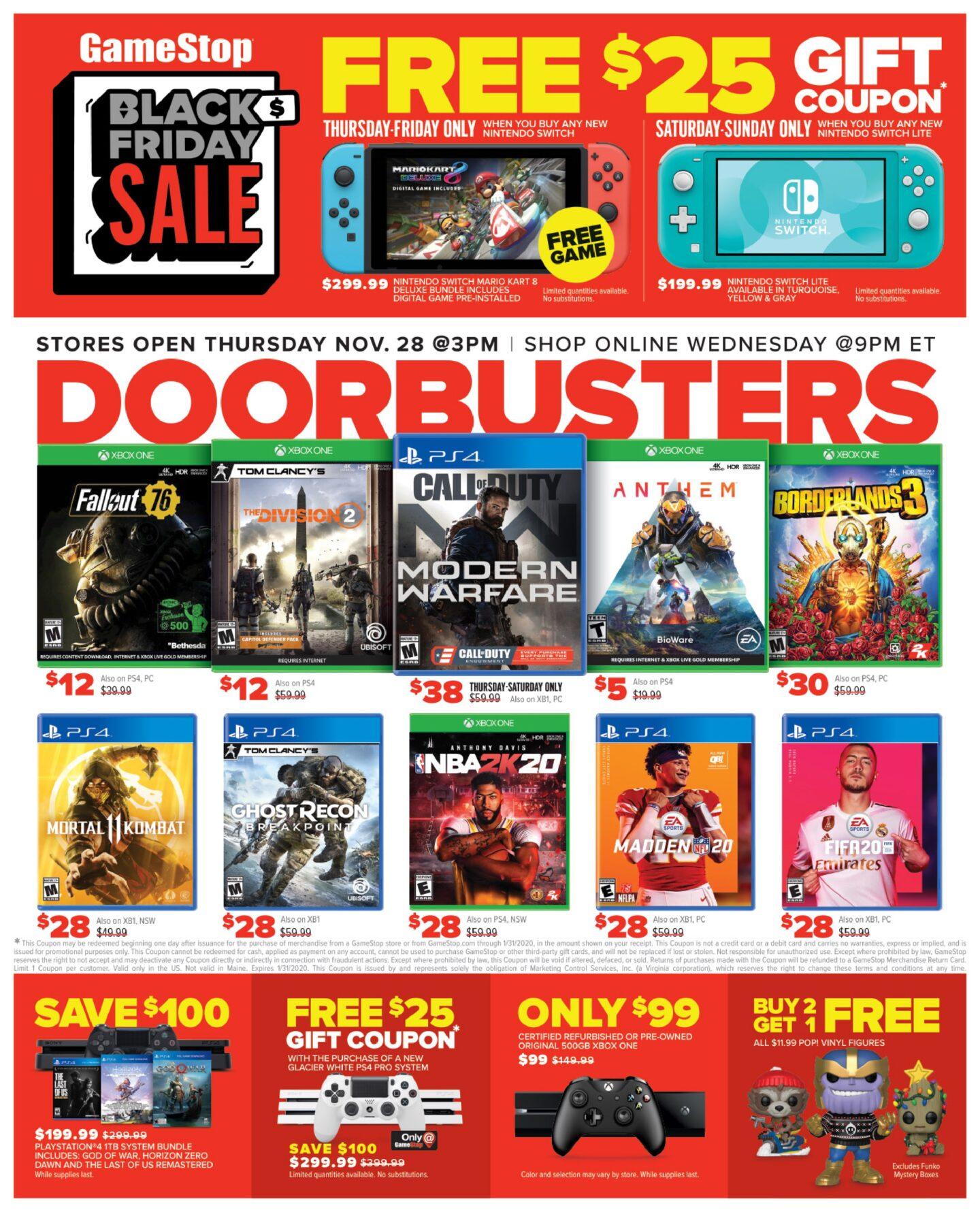 GameStop Black Friday Ad Sale 2019