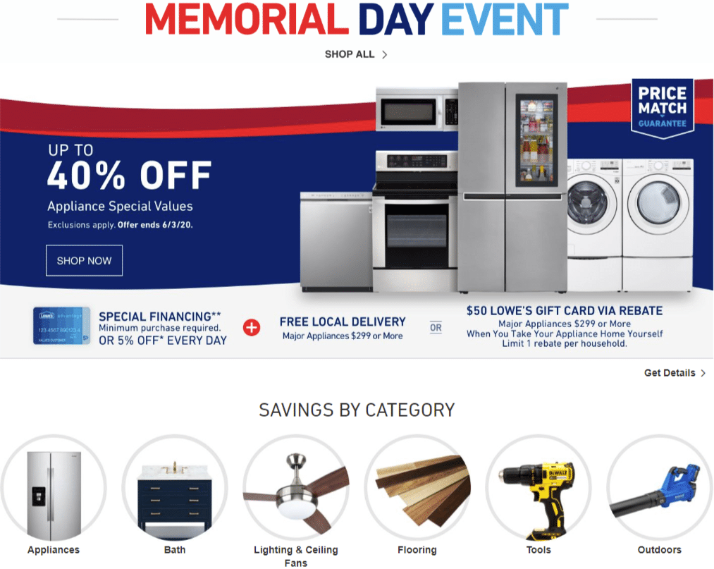 Lowes Memorial Day 2020 Sale