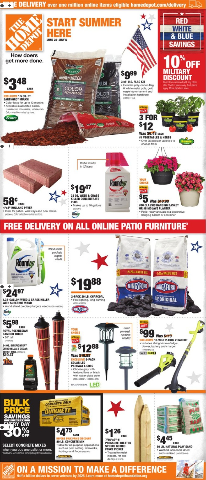 Home Depot Ad Weekly Ad June 25 – July 5, 2020. Red, White & Blue Savings!