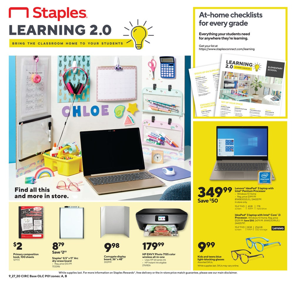 Staples Weekly Ad September 27 - October 3, 2020. Up To 50% Off Backpacks & Lunch Bags!