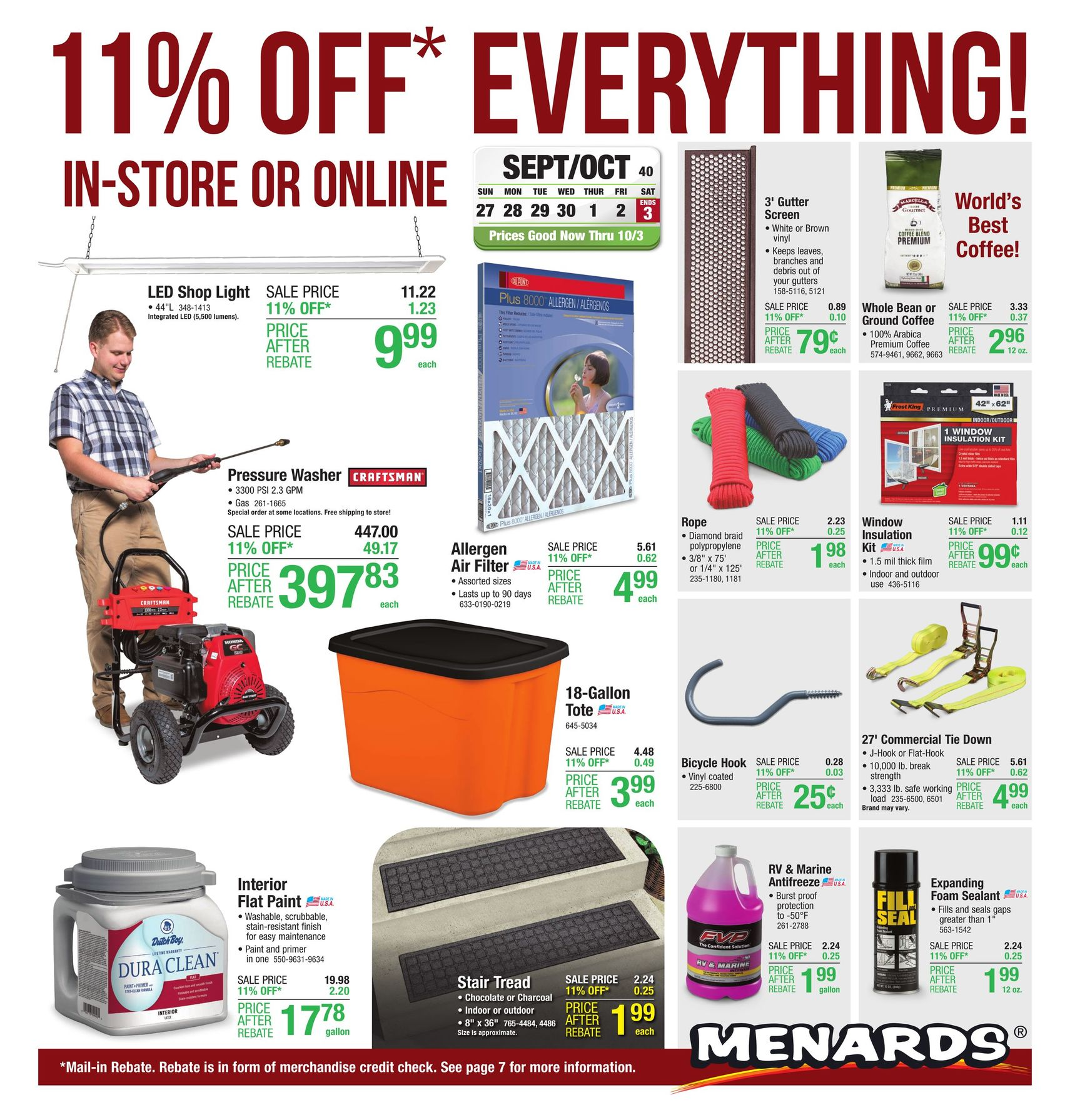 Menards Ad Deals September 27 - October 3, 2020. 11% Rebate Sale!