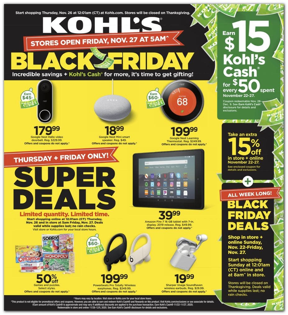 Kohl's Black Friday Sales Ad 2020