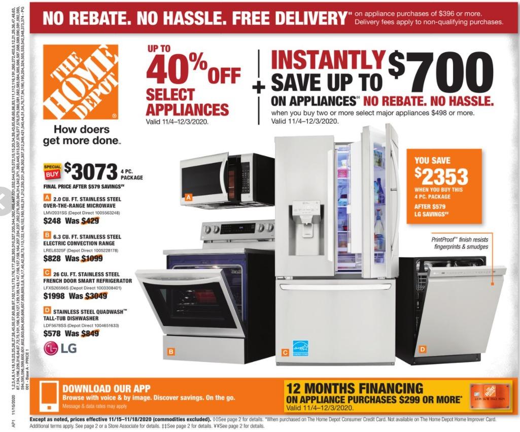 Home Depot Ad November 15 - November 18, 2020. Appliances on Sale!