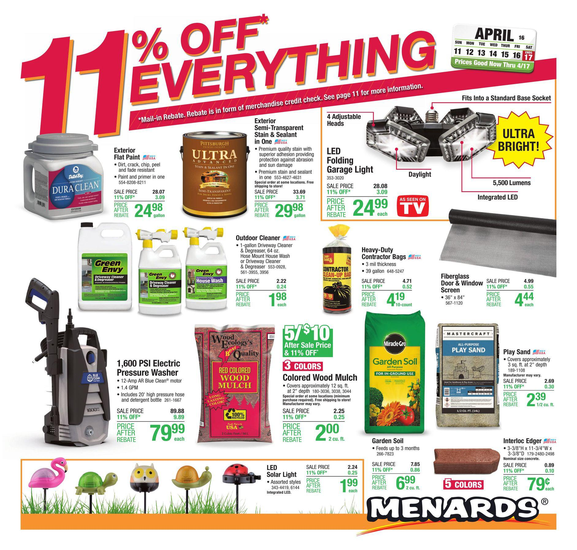 Menards Ad Deals April 11 - April 17, 2021. 11% Off Everything!